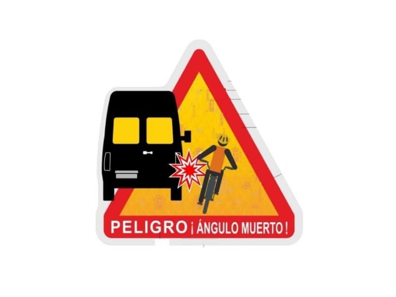 nueva señal de advertencia de peligro de ángulos muertos